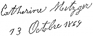 Почерк человека, подверженного БП в работе Шарко «Лекции по заболеваниям нервной системы» от 1879 года. Оригинальное описание текста гласит «Штрихи, которые образуют буквы, являются неровными и извилистыми, в то время как неровности и изгибы имеют очень ограниченную ширину. (…) Все штрихи, направленные вниз, кроме такового у первой буквы, произведены со сравнимой твёрдостью и, по сути, являются практически нормальными – более тонкие штрихи, направленные вверх, наоборот, внешне выглядят неровными (…)»